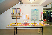 Hannukah Menorah with burning candles