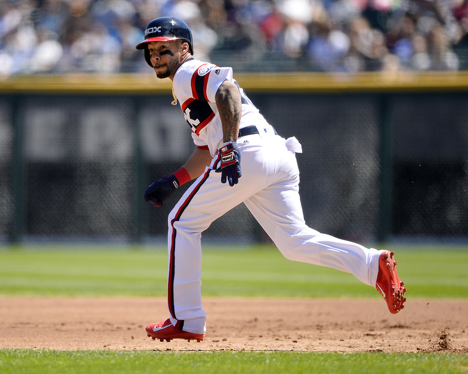 CHICAGO - APRIL 23:  Leury Garcia #28 of the Chicago White Sox runs the bases against the Cleveland Indians on April 23, 2017 at Guaranteed Rate Field in Chicago, Illinois.  The White Sox defeated the Indians 6-2.  (Photo by Ron Vesely)   Subject:  Leury Garcia
