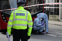 © Licensed to London News Pictures. 09/02/2019. London, UK. The scene at the junction of Lewisham Road and Blackheath Hill in southeast London where a man was shot by police.  Photo credit: Rob Pinney/LNP