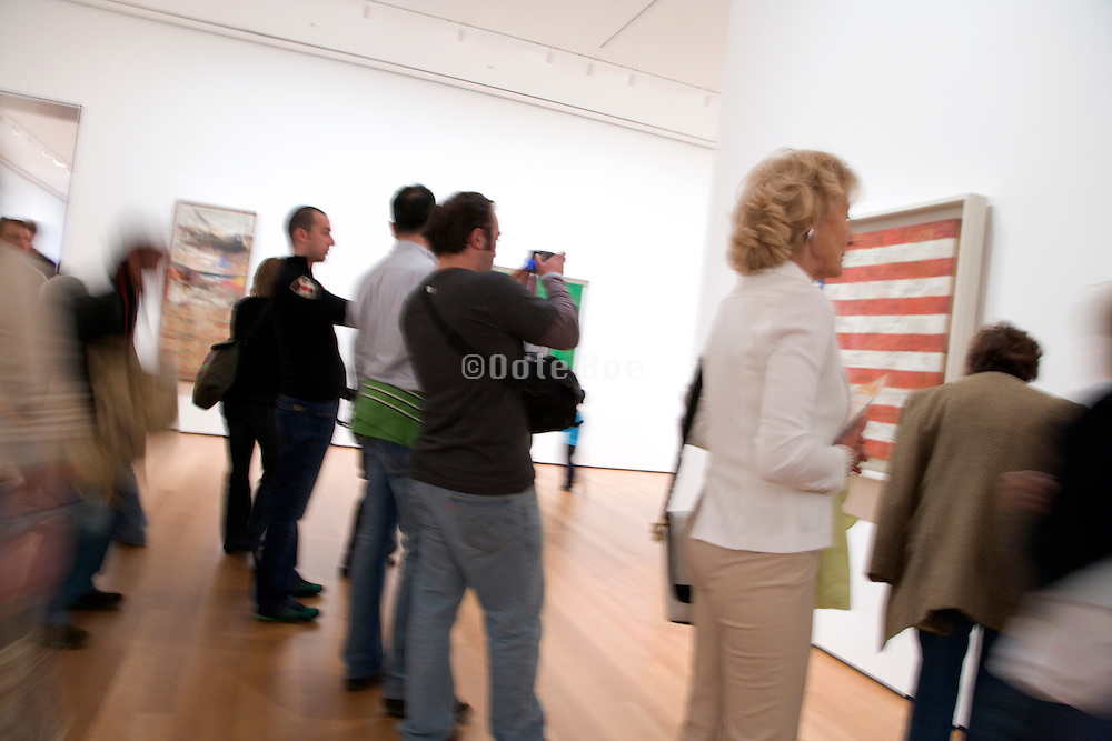 crowd in The Museum of Modern Art New York photographing an American flag painting by Jasper Johns