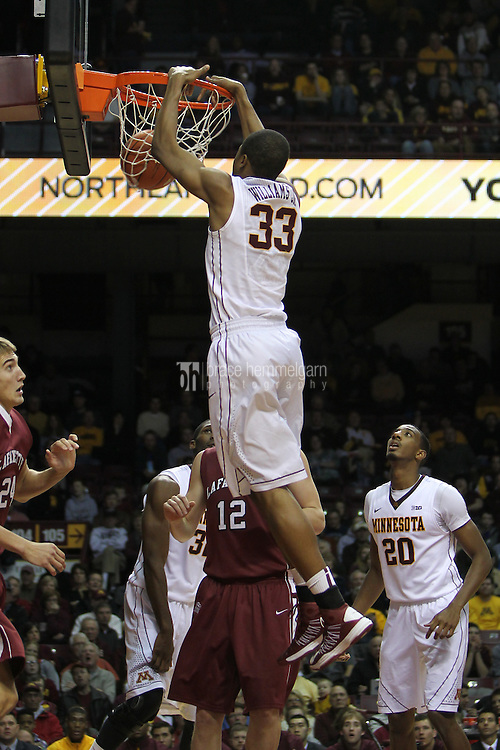 Dec 22, 2012; Minneapolis, MN, USA; Minnesota Golden Gophers forward Rodney Williams (33) dunks during the second half against the Lafayette Leopards at Williams Arena. Minnesota defeated Lafayette 75-50. Mandatory Credit: Brace Hemmelgarn-USA TODAY Sports