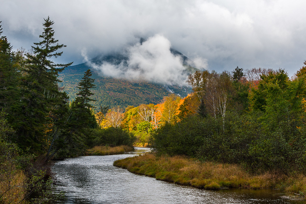 Autumn storm clearing, Nesowadnehunk Stream, Baxter State Park, Maine, USA