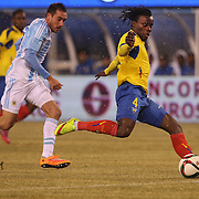 Juan Paredes, Ecuador, in action during the Argentina Vs Ecuador International friendly football match at MetLife Stadium, New Jersey. USA. 31st march 2015. Photo Tim Clayton