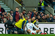 Twickenham, England, 7th March 2020,  Jonny MAY, under going an on field head assessment, during the, Guinness Six Nations, International Rugby, England vs Wales, RFU Stadium, United Kingdom, [Mandatory Credit; Peter SPURRIER/Intersport Images]