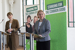 © Licensed to London News Pictures. 14/04/2015. London, UK. Green Party leader Natalie Bennett and Caroline Lucas at the Green Party manifesto launch, 'For the Common Good' at the Arcola Theatre in Dalston, east London today. Photo credit : Vickie Flores/LNP