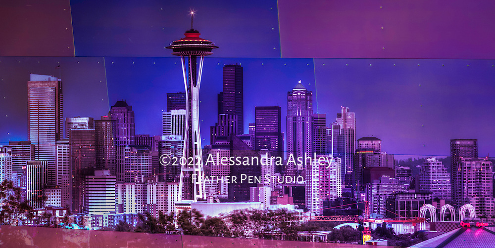 Seattle's iconic  night skyline including the Space Needle, City Center, downtown and waterfront, as viewed from Kerry Park Overlook.  Composited with the shimmering, wildly colored metal tile exterior of EMP (Experience Music Project) Museum, another Seattle landmark.