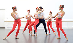 NEBT <br /> New English Ballet Theatre <br /> rehearsing for their forthcoming programme in July at the Cheltenham Festival & Richmond Theatre. <br /> <br /> Rehearsals in London on 23rd April 2015 at the Rambert Dance studio <br /> <br /> pieces included are <br /> 'Orbital Motion by Valentino Zucchetti<br /> and<br /> Man Women by <br /> Kristen McNally<br /> <br /> Matthieu Quincy, Abigail Mattox, Chloé Lopes Gomes, Karen Pilkington-Miksa, Jason Inniss, Niklas Blomqvist, Emma Lucibello, Iván Delgado del Río, Arianna Marchiori, Alexandra Cameron-Martin and George Baán.<br /> <br /> <br /> Photograph by Elliott Franks <br /> Image licensed to Elliott Franks Photography Services