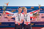 Brandenburg. GERMANY. GBR W2-. Right, Helen GLOVER and Heather STANNING. winners womens pair at the<br /> 2016 European Rowing Championships at the Regattastrecke Beetzsee<br /> <br /> Sunday  08/05/2016<br /> <br /> [Mandatory Credit; Peter SPURRIER/Intersport-images]