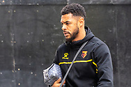 Watford forward Andre Gray (18) arrives at The Brentford Community Stadium ahead of the EFL Sky Bet Championship match between Brentford and Watford at Brentford Community Stadium, Brentford, England on 1 May 2021.