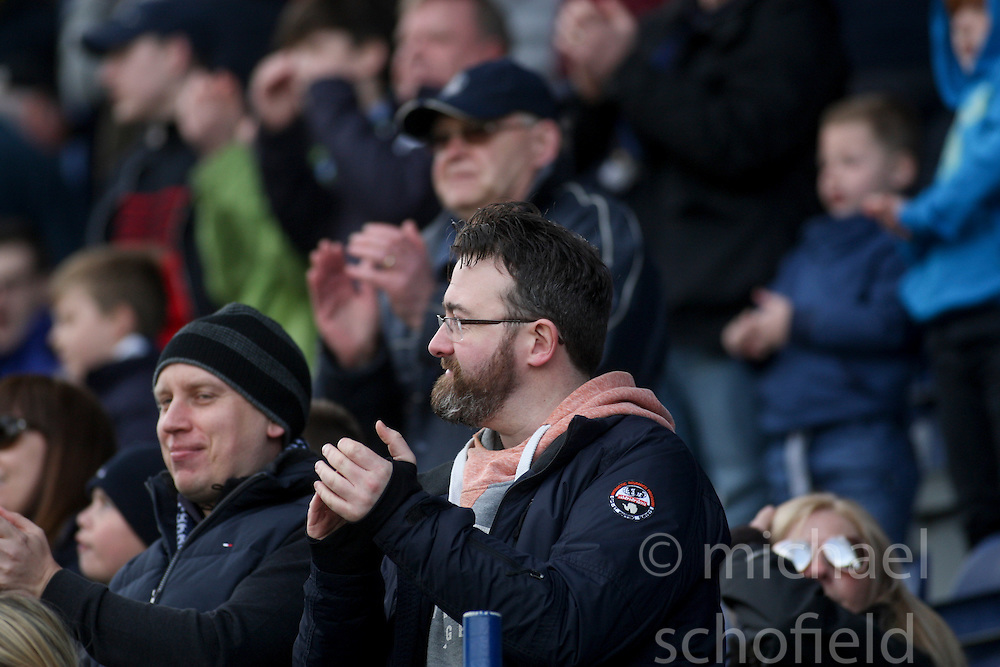 Main stand at the end.<br /> Falkirk 3 v 2 St Mirren, Scottish Championship game played 9/4/2016 today at The Falkirk Stadium.