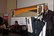 DURBAN - Jeff Radebe, South Africa's Minister in the Presidency, speaking on whether the country's constitution is an obstacle or catalyst for nation building at the annual CHief Albert Luthuli Memorial Lecture at the University of KwaZulu-Natal in Durban. Looking on are Wally Serote (left) and the country's Public Protector Advocate Busisiwe Mkhweban (center) Picture: Giordano Stolley