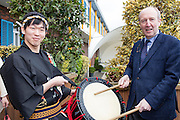 27/1/16 Minister Shane Ross with Taiko Drum Troupe members at the Holiday World Show 2017 at the RDS Simmonscourt in Dublin which runs to Sunday 29th January.. Picture: Arthur Carron