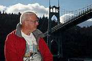 USA, Oregon, Portland, Cathedral Park, tourist enjoying the afternoon.