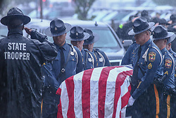May 5, 2017 - Corporal Ballard funeral services held  Friday, May 5, 2017 at the Chase Center On The Riverfront in Wilmington Delaware. He leaves to cherish his memory:  his loving wife, Louise Lewis Ballard; daughter, Abigail Lewis; parents, Kevin and Robin Ballard; paternal grandmother, Ruth Noble; mother-in-law, Sharon Cummings; 5 aunts, 2 uncles, his fellow State Troopers; other extended family members...Ballard was gunned down Wednesday April 26, 2017 in a Bear-area Wawa parking lot when he approached a suspicious vehicle and the passenger jumped out and began firing at him. Ballard fell after being hit, and the shooter continued to fire rounds into the trooper before fleeing to his family's Middletown-area home. (Credit Image: © Saquan Stimpson via ZUMA Wire)