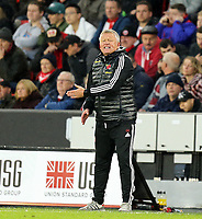 Sheffield United manager Chris Wilder shouts instructions to his team from the dug-out <br /> <br /> Photographer Rich Linley/CameraSport<br /> <br /> The Premier League - Sheffield United v Burnley - Saturday 2nd November 2019 - Bramall Lane - Sheffield<br /> <br /> World Copyright © 2019 CameraSport. All rights reserved. 43 Linden Ave. Countesthorpe. Leicester. England. LE8 5PG - Tel: +44 (0) 116 277 4147 - admin@camerasport.com - www.camerasport.com