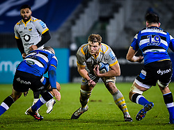 Joe Launchbury of Wasps carries towards Elliott Stooke and Tom Dunn of Bath Rugby - Mandatory by-line: Andy Watts/JMP - 08/01/2021 - RUGBY - Recreation Ground - Bath, England - Bath Rugby v Wasps - Gallagher Premiership Rugby