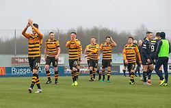 Alloa Athletic's Dario Zanatta and players at the end. Falkirk 1 v 2 Alloa Athletic, Scottish Championship game played 6/4/2019 at The Falkirk Stadium.