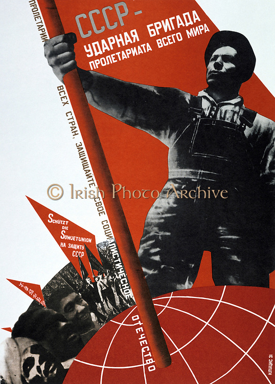 The USSR is the elite brigade of the world proletariate', 1931. Soviet propaganda poster by G Klutsis.  Russia USSR  Communism Communist
