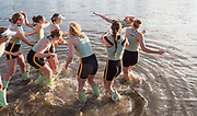 Mortlake/Chiswick, GREATER LONDON. United Kingdom. 2017 Women's Boat Race winners CUWBC, celebrate after the presentation, The Championship Course, Putney to Mortlake on the River Thames.<br /> <br /> <br /> Sunday  02/04/2017<br /> <br /> [Mandatory Credit; Intersport Images]