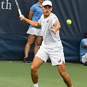 ALEX DE MINAUR hits a forehand at the Rock Creek Tennis Center.