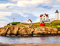 The Nubble Lighthouse bookmark.<br /> Please note:  This image is a bookmark, not a postcard.<br /> <br /> Designed and printed in NH on FSC Recycled Paper.