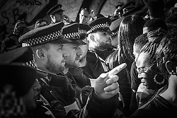 London, August 29th 2016. Police temporarily prevent more people from entering the dangerously crowded Ladbroke Grove during day two of Europe's biggest street party, the Notting Hill Carnival.