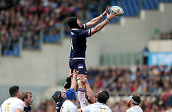 Scotland's Tim Swinson goes up for a lineout during the NatWest 6 Nations match at the Stadio Olimpico, Rome.