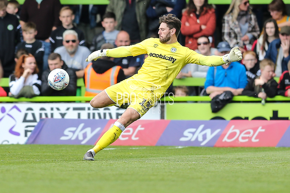 Forest Green Rovers goalkeeper James Montgomery during the EFL Sky Bet League 2 match between Forest Green Rovers and Exeter City at the New Lawn, Forest Green, United Kingdom on 4 May 2019.