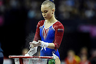 Angelina Melnikova of Russia (RUS) prepares for her Uneven Bars routine during the iPro Sport World Cup of Gymnastics 2017 at the O2 Arena, London, United Kingdom on 8 April 2017. Photo by Martin Cole.