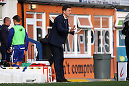 Wigan Athletic Manager Gary Caldwell gives instructions to calm down. Skybet football league one match , Bury v Wigan Athletic at the JD Stadium in Bury, Lancs on Saturday 10th October 2015.<br /> pic by Chris Stading, Andrew Orchard sports photography.