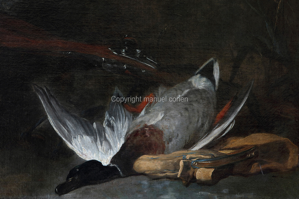 Barbet dog in front of a mallard (Chien barbet devant un colvert), detail, oil painting on canvas, by Jean Baptiste Simeon Chardin, 1699-1779, in a private collection, France. In this hunting scene, a dog approaches a dead mallard, which forms a still life element with a rifle and hunting bag. This painting is thought to have been completed in the 1730s, and is unusual for Chardin in that it depicts a live animal. Picture by Manuel Cohen