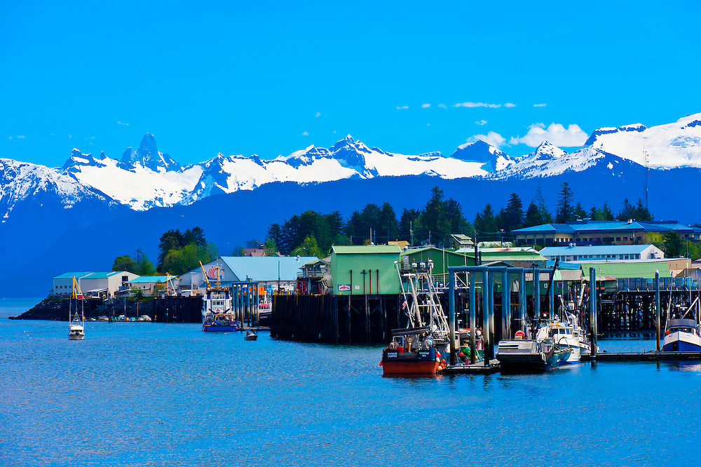 Fishing boats and seafood processing plants  in harbor, Petersburg, southeast Alaska USA