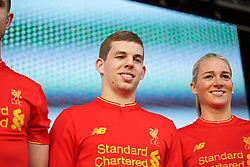 LIVERPOOL, ENGLAND - Monday, May 9, 2016: Liverpool's Jon Flanagan at the launch of the New Balance 2016/17 Liverpool FC kit at a live event in front of supporters at the Royal Liver Building on Liverpool's historic World Heritage waterfront. (Pic by Lexie Lin/Propaganda)