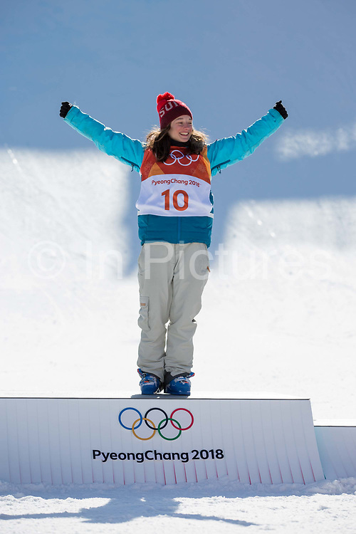 Sarah Hofflin, Switzerland, wins  GOLD, at the Womens Ski Slopestyle at the Pyeongchang Winter Olympics on 17th February 2018 at Phoenix Snow Park in South Korea