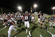 Sherman players celebrate following a game between Sherman High and Frisco Liberty on Friday, Sept. 2, 2016 at Bearcat Stadium in Sherman.  (Kevin Bartram/www.buzzzphotos.com)