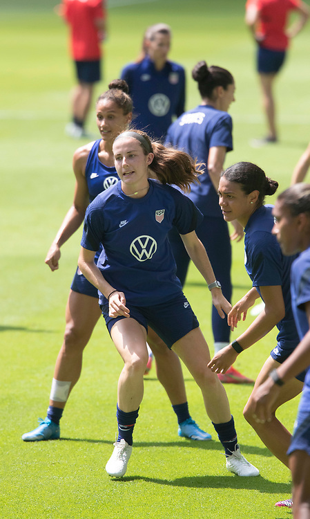 Defendeer TIERNA DAVIDSON and other members of the United States Women's National Team (USWNT) warm up at the new Q2 soccer stadium in Austin during one of the final games on their road to the 2021 Tokyo  Olympics. The team will play a friendly with Nigeria on Wednesday evening.