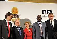 20100705: JOHANNESBURG, SOUTH AFRICA - World football's two most prestigious player of the year awards will merge into a single title called the FIFA Ballon d'Or from next year. The deal was announced by France Football magazine publisher Marie-Odile Amaury and Joseph Blatter. In picture: 20100705: JOHANNESBURG, SOUTH AFRICA - World football's two most prestigious player of the year awards will merge into a single title called the FIFA Ballon d'Or from next year. The deal was announced by France Football magazine publisher Marie-Odile Amaury and Joseph Blatter. In picture: L-R General Director of L'Equipe and France Football Francois Morinieres, Joseph Blatter, President of the Amaury Group Marie-Odile Amaury, former football player George Weah and FIFA Secretary General Jerome Valcke. PHOTO: CITYFILES. PHOTO: CITYFILES