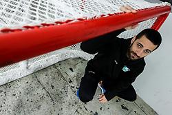 "Goalkeeper Matija Pintaric posing after the practice session of Slovenian Ice Hockey National team before ""Beat Covid-19 Ice Hockey Tournament"", on May 12, 2021 in Hala Tivoli, Ljubljana, Slovenia. Photo by Vid Ponikvar / Sportida"