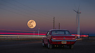 BOLO Photo<br /> Wild West Automotive Photography<br /> Ready to Roll<br /> Equinox Supermoon<br /> March 20, 2019: Happy Jack Road in Cheyenne, Wyoming <br /> (1964-1/2 Ford Mustang: Lyle and Cindy Brownell)