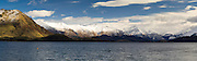 Panoramic view of Lake Wanaka and Mt. Aspiring National Park taken from Bremner Bay on a cool winter day.