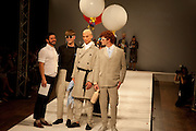 Central Saint Martins - BA catwalk show,  York Hall, Old Ford Road, Bethnal Green, London. London fashion college presents showcase of BA students' graduate collections. 31 May 2011. <br /> <br />  , -DO NOT ARCHIVE-© Copyright Photograph by Dafydd Jones. 248 Clapham Rd. London SW9 0PZ. Tel 0207 820 0771. www.dafjones.com.