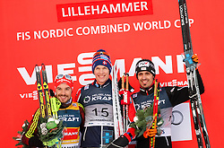 06.12.2015, Nordic Arena, NOR, FIS Weltcup Nordische Kombination, Lillehammer, Podium, im Bild v.l.: Fabian Riessle (GER), Magnus Krog (NOR), Lukas Klapfer (AUT) // Fabian Riessle of Germany, Magnus Krog of Norway, Lukas Klapfer of Austria celebrates on Podium after Cross Country Competition of FIS Nordic Combined World Cup at the Nordic Arena, Lillehammer, Norway on 2015/12/06. EXPA Pictures © 2015, PhotoCredit: EXPA/ JFK