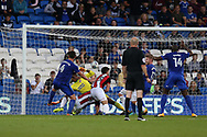 Sean Morrison of Cardiff city (4 ) scores his teams 1st goal. EFL Skybet championship match, Cardiff city v Sheffield Utd at the Cardiff City Stadium in Cardiff, South Wales on Tuesday 15th August 2017.<br /> pic by Andrew Orchard, Andrew Orchard sports photography.