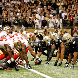 November 25, 2012; New Orleans, LA, USA; San Francisco 49ers offense lines up against the New Orleans Saints defense during the second half of a game at the Mercedes-Benz Superdome. The 49ers defeated the Saints 31-21. Mandatory Credit: Derick E. Hingle-US PRESSWIRE