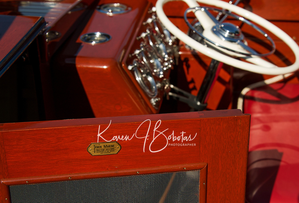 The original plate from Irwin Marine on Gary Kvedaisch's 1952 Chris Craft during the annual Antique Boat Show in Wolfeboro, New Hampshire.  ©2018 Karen Bobotas Photographer