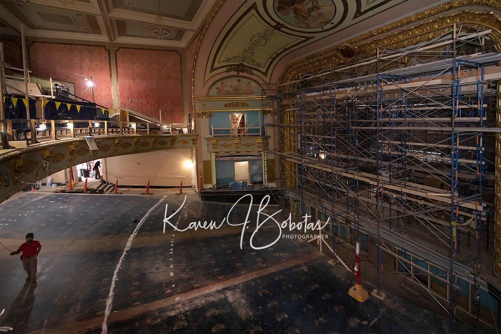 Colonial Theater restoration work.  ©2020 Karen Bobotas Photographer