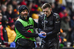 Dafydd Howells of Dragons leaves the field with an injury<br /> <br /> Photographer Craig Thomas/Replay Images<br /> <br /> Guinness PRO14 Round 7 - Dragons v Zebre - Saturday 30th November 2019 - Rodney Parade - Newport<br /> <br /> World Copyright © Replay Images . All rights reserved. info@replayimages.co.uk - http://replayimages.co.uk