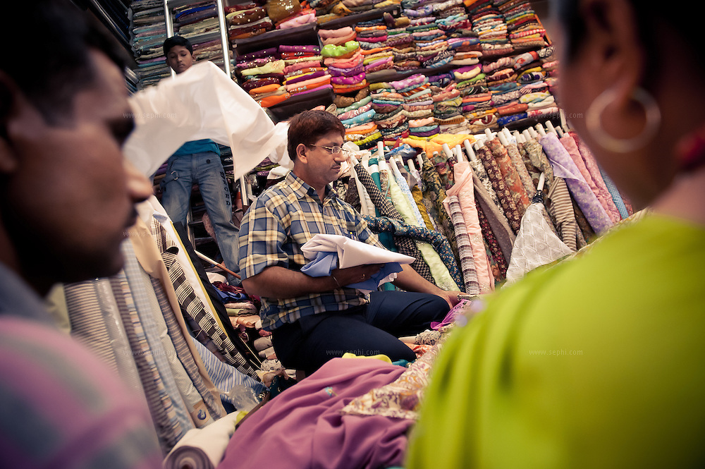 a fabric and saree store at INA market New Delhi