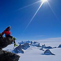 ANTARCTICA, Conrad Anker near summit of Mt.Kubus. Filchner Mts.bkg. Queen Maud Land.
