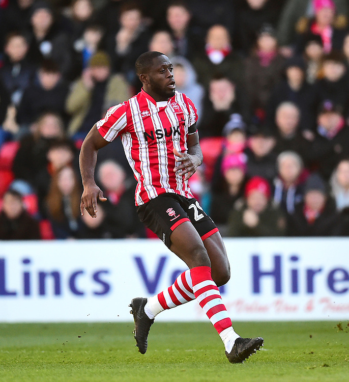 Lincoln City's John Akinde<br /> <br /> Photographer Andrew Vaughan/CameraSport<br /> <br /> The EFL Sky Bet League Two - Lincoln City v Northampton Town - Saturday 9th February 2019 - Sincil Bank - Lincoln<br /> <br /> World Copyright © 2019 CameraSport. All rights reserved. 43 Linden Ave. Countesthorpe. Leicester. England. LE8 5PG - Tel: +44 (0) 116 277 4147 - admin@camerasport.com - www.camerasport.com